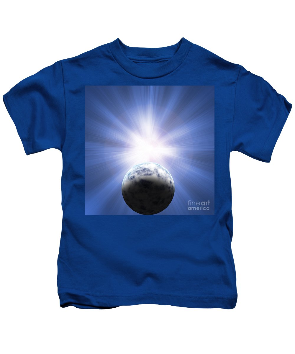 Planet Kids T-Shirt featuring the digital art Doomed Planet 01 by Antony McAulay