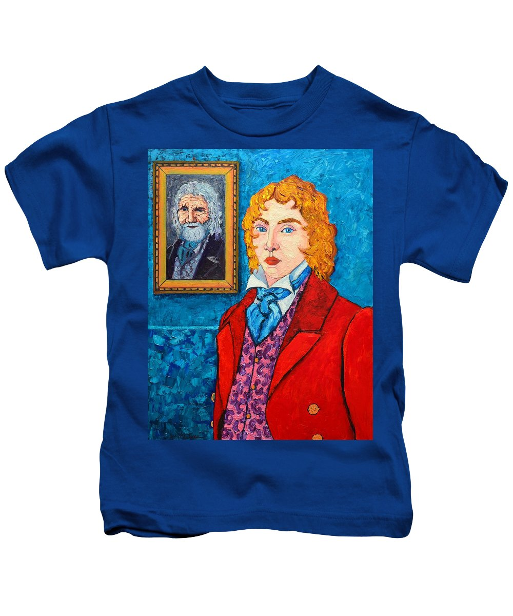 Dorian Kids T-Shirt featuring the painting Dorian Gray by Ana Maria Edulescu