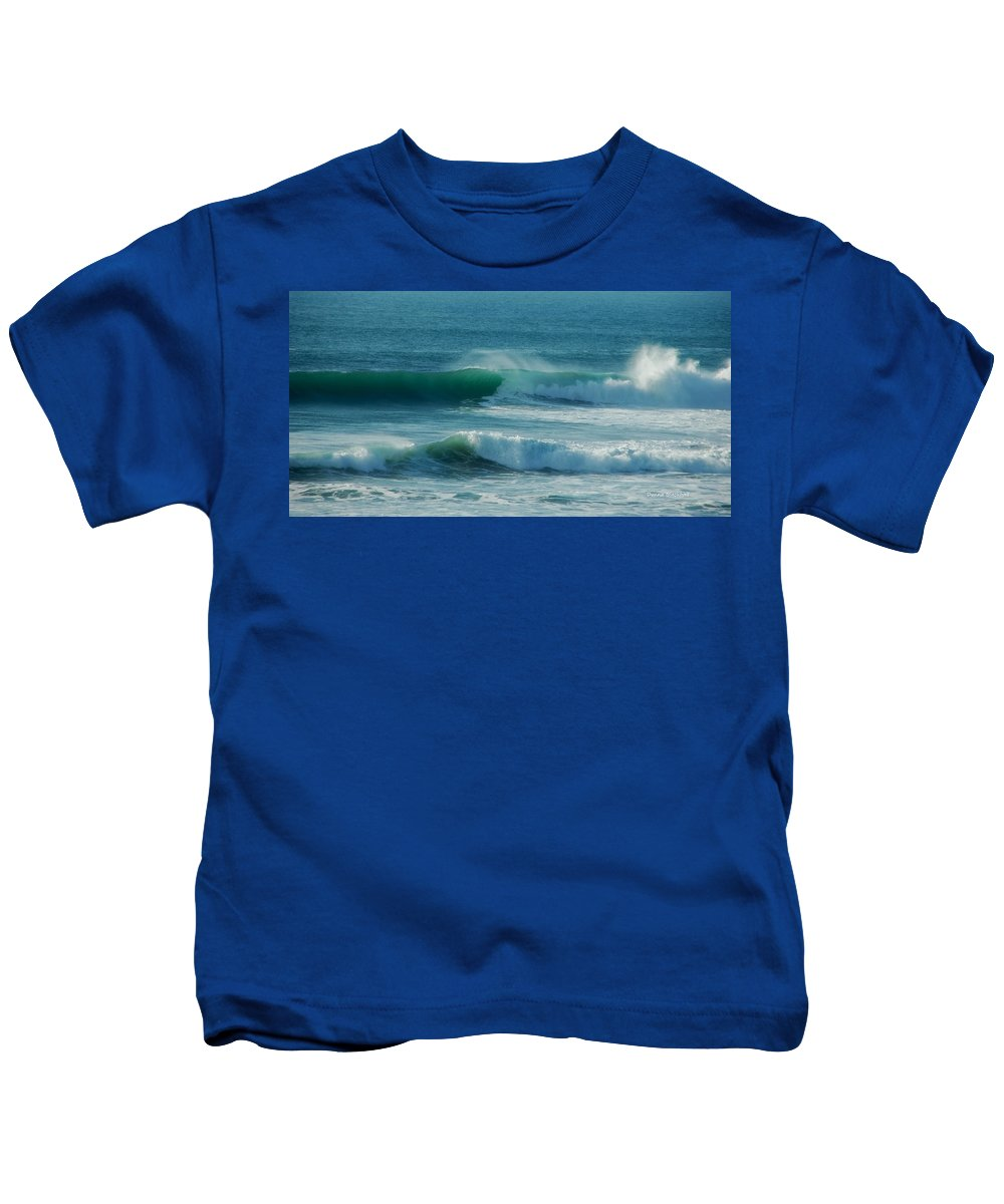 Waves Kids T-Shirt featuring the photograph Double Action by Donna Blackhall