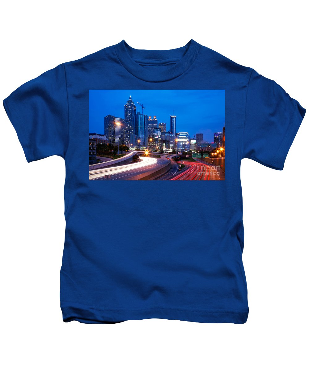 I-75 Kids T-Shirt featuring the photograph Downtown Atlanta At Dusk by Bill Cobb