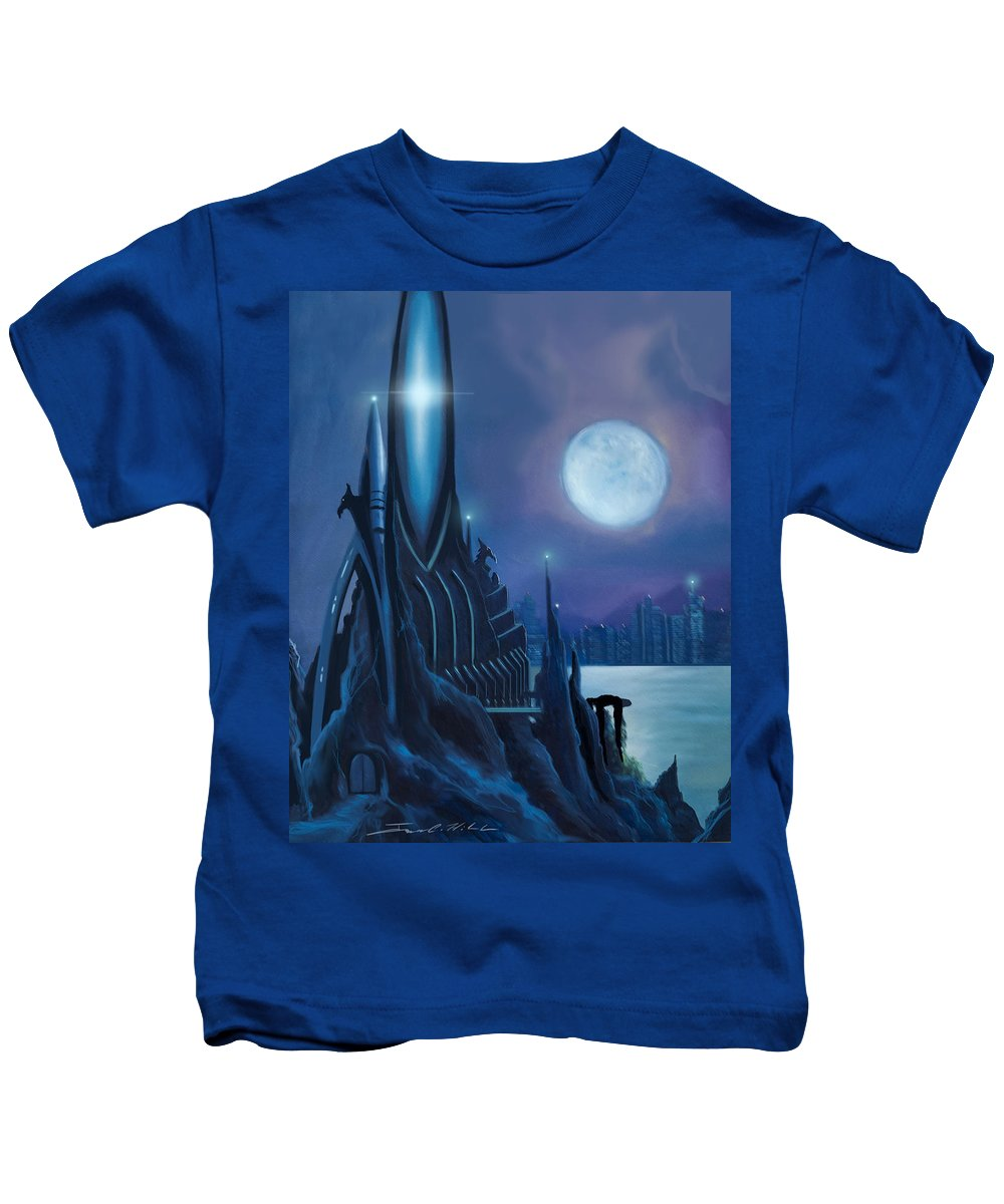 Sunrise Kids T-Shirt featuring the painting Dragontown by James Christopher Hill
