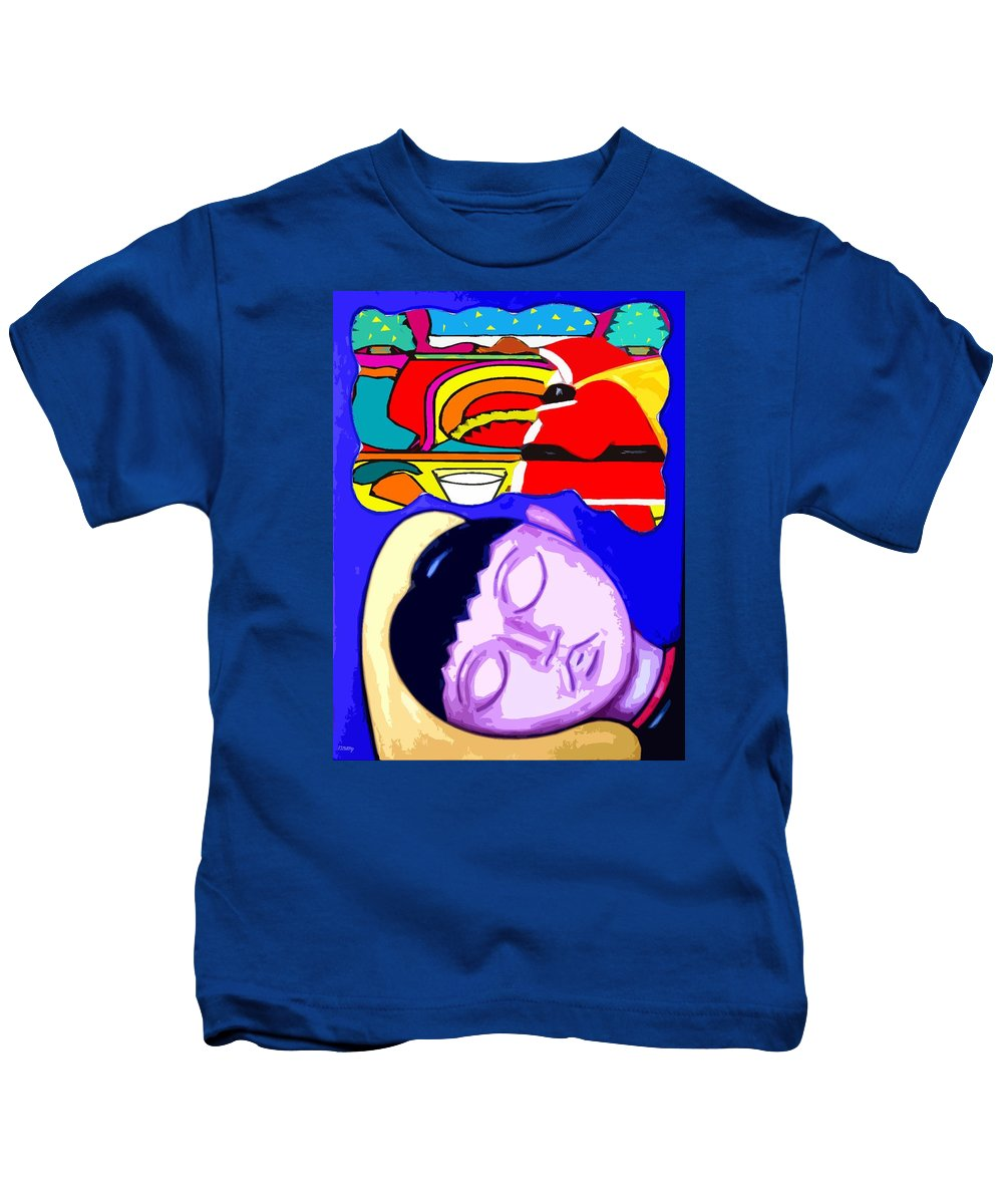 Childhood Kids T-Shirt featuring the painting Dreams Of Santa by Patrick J Murphy