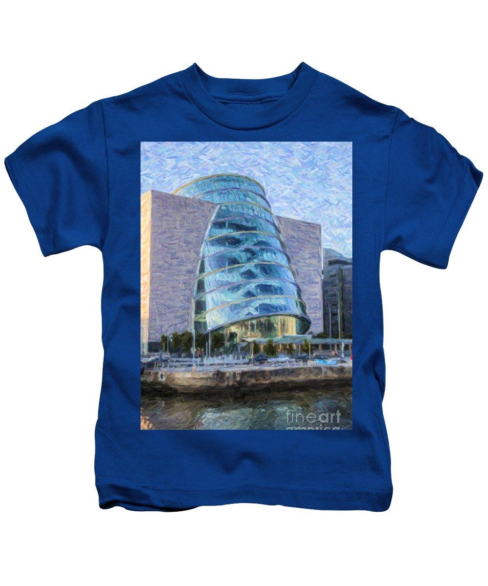 Dublin Kids T-Shirt featuring the digital art Dublin Convention Centre Republic Of Ireland by Liz Leyden