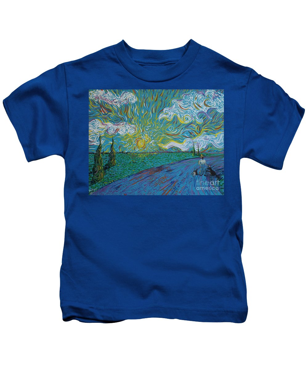 Landscape Kids T-Shirt featuring the painting Duncan And Haggis by Stefan Duncan