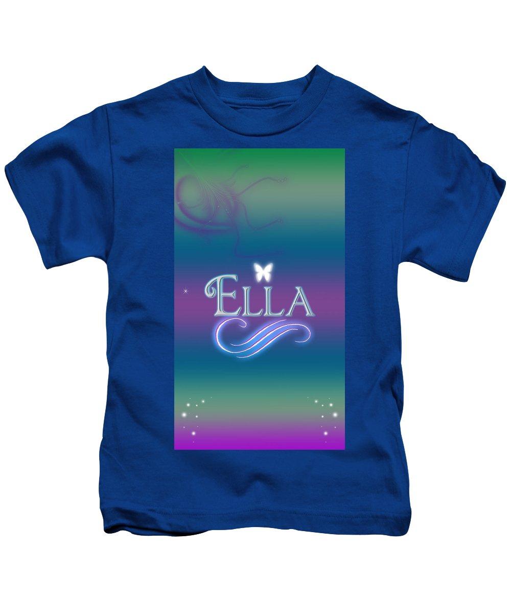 Abby Kids T-Shirt featuring the digital art Ella Name Art by Becca Buecher