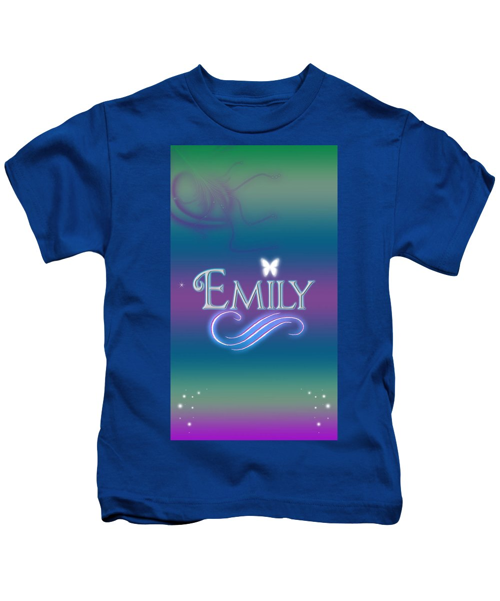 Abby Kids T-Shirt featuring the digital art Emily Name Art by Becca Buecher