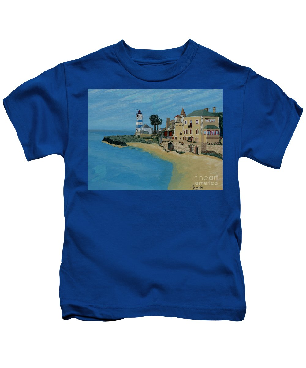 Lighthouse Kids T-Shirt featuring the painting European Lighthouse by Anthony Dunphy