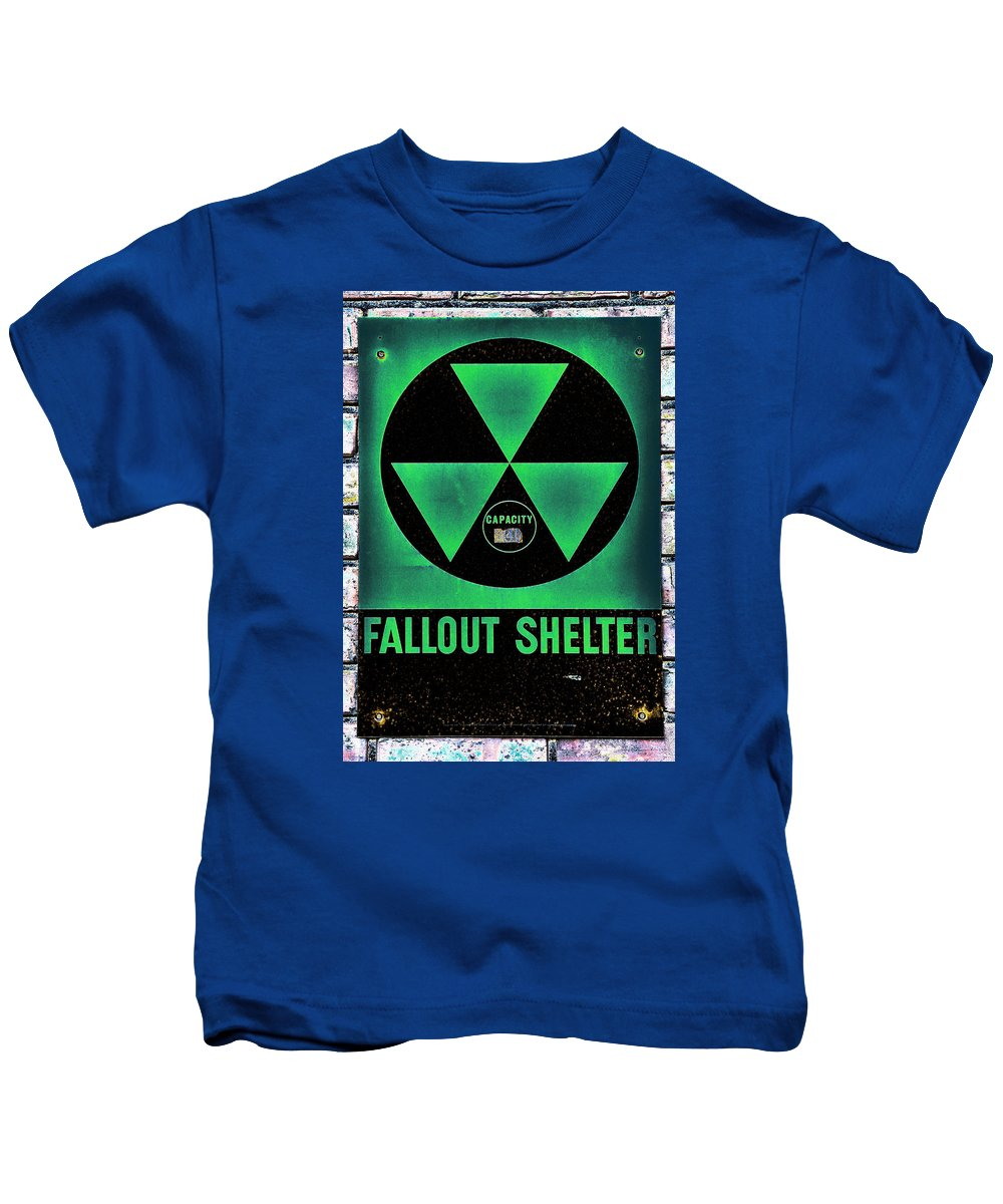 Fallout Kids T-Shirt featuring the photograph Fallout Shelter Wall 1 by Stephen Stookey