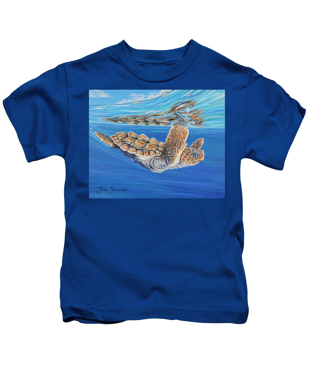 Ocean Kids T-Shirt featuring the painting First Dive by Jane Girardot