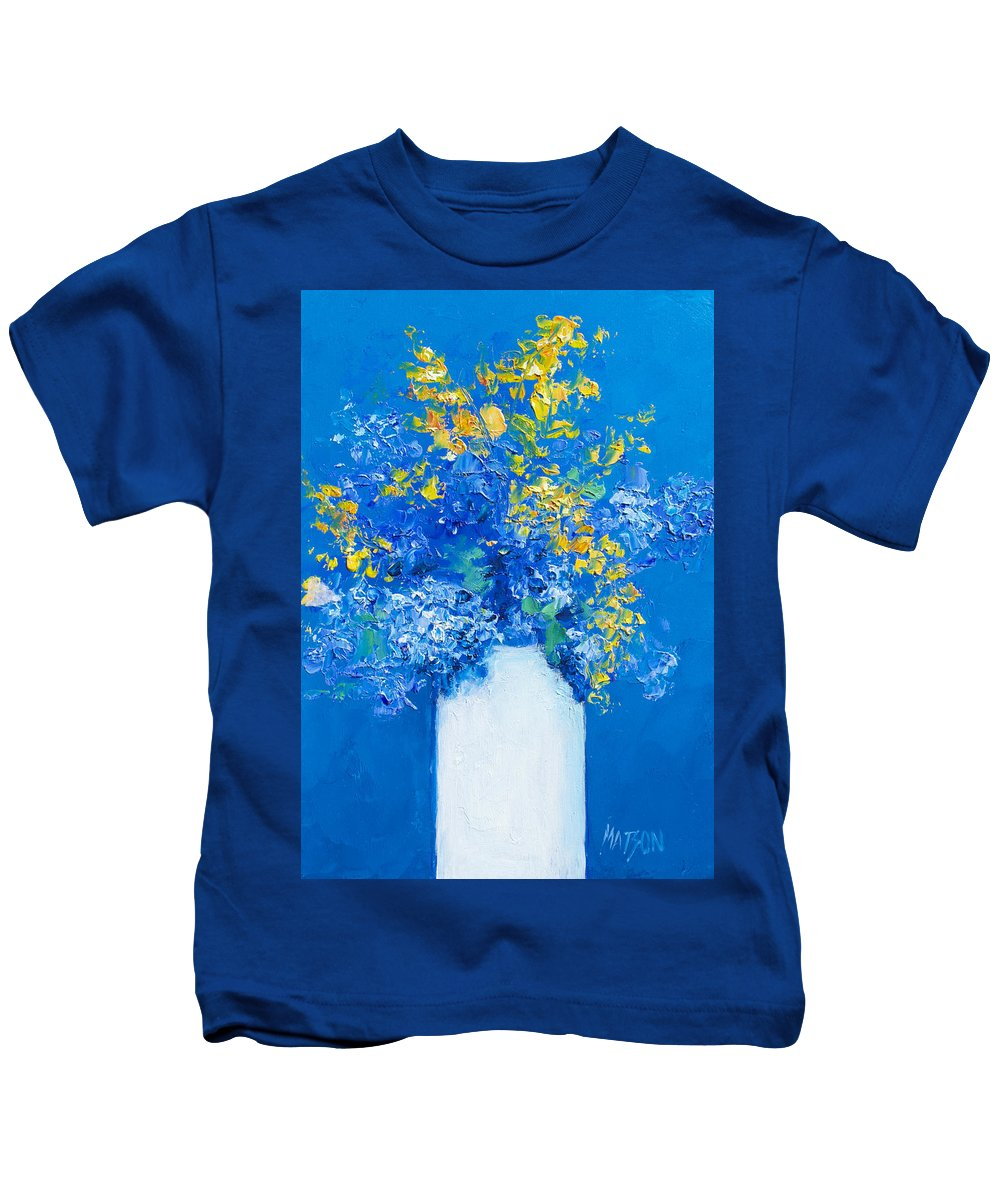 Flowers Kids T-Shirt featuring the painting Flowers With Blue Background by Jan Matson