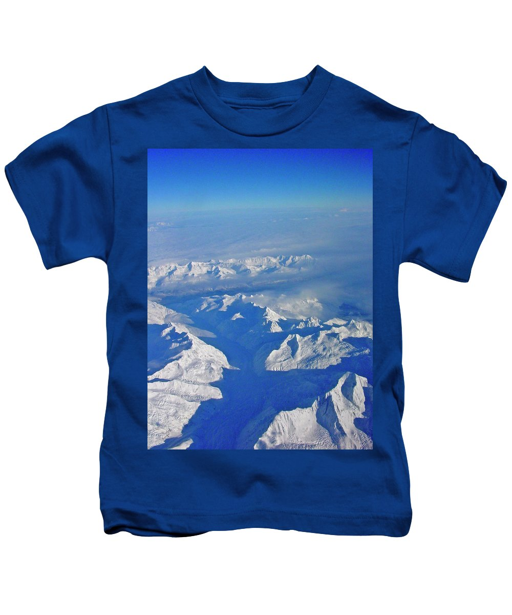 Aerial Photography Kids T-Shirt featuring the photograph Frozen World by Jeremy Rhoades