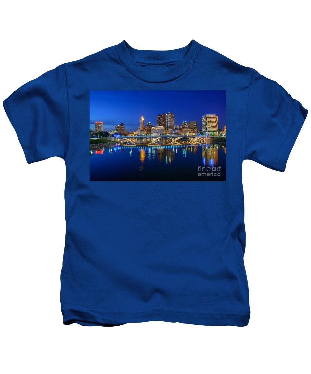 Columbus Kids T-Shirt featuring the photograph Fx2l530 Columbus Ohio Night Skyline Photo by Ohio Stock Photography