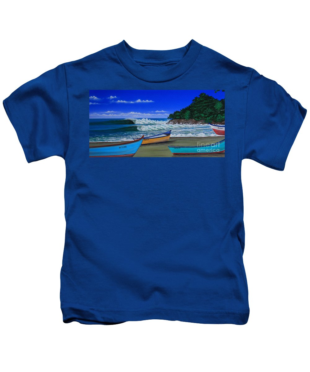 Carribean Kids T-Shirt featuring the painting Gas Chambers Puerto Rico by Marty Calabrese