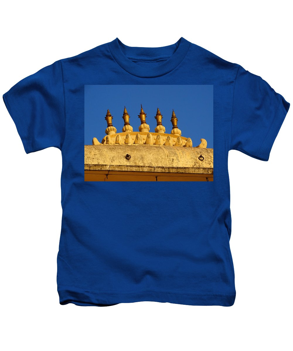 Udaipur City Palace Kids T-Shirt featuring the photograph Golden Spires Udaipur City Palace India by Sue Jacobi