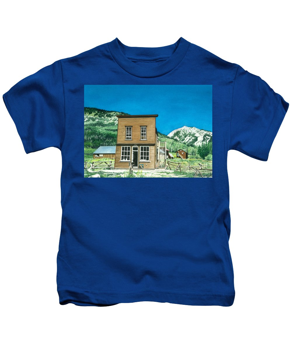Water Color Paintings Kids T-Shirt featuring the painting Gothic Town Hall by Barbara Jewell