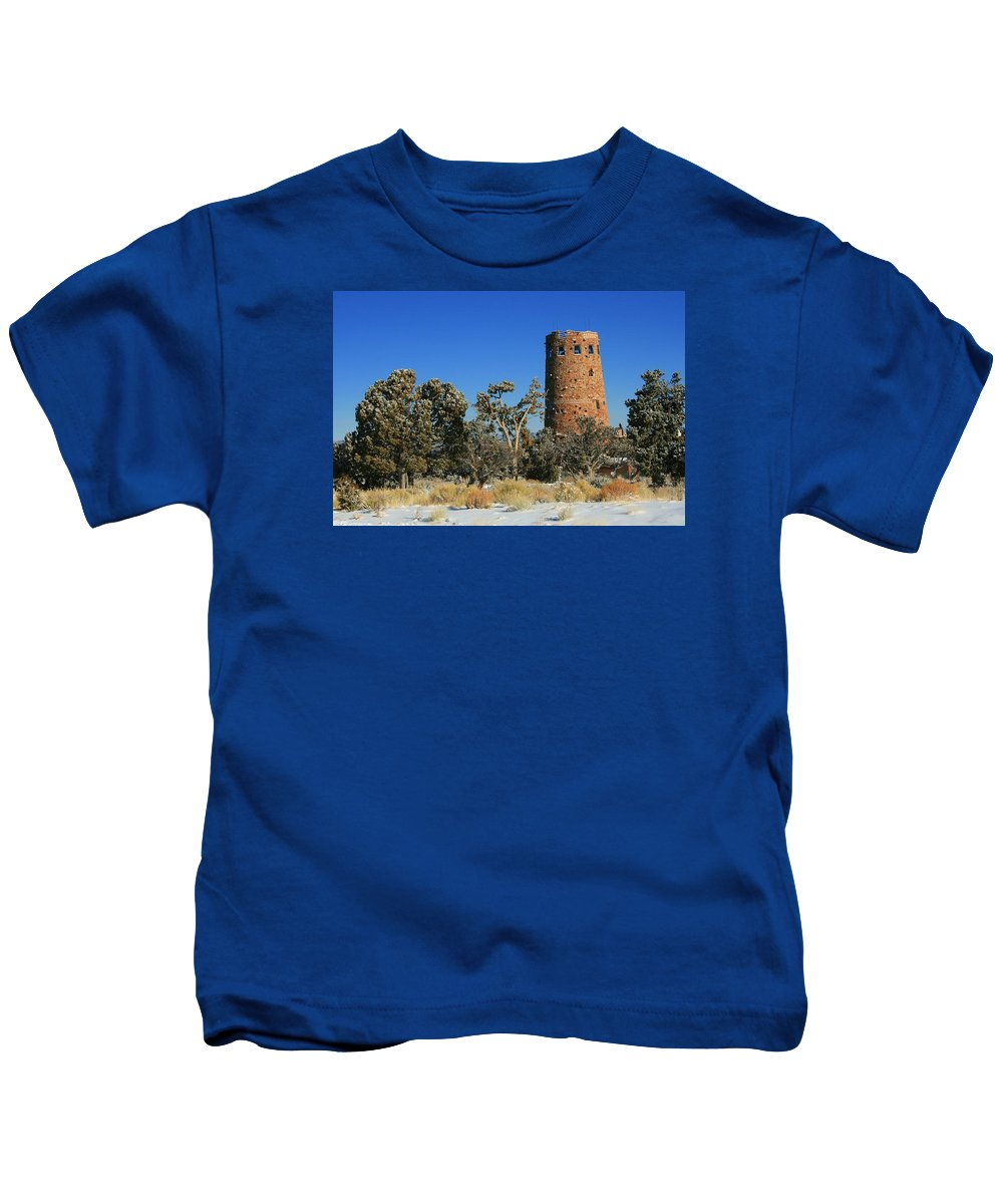 Grand Canyon Kids T-Shirt featuring the photograph Grand Canyon Watch Tower by Susan McMenamin