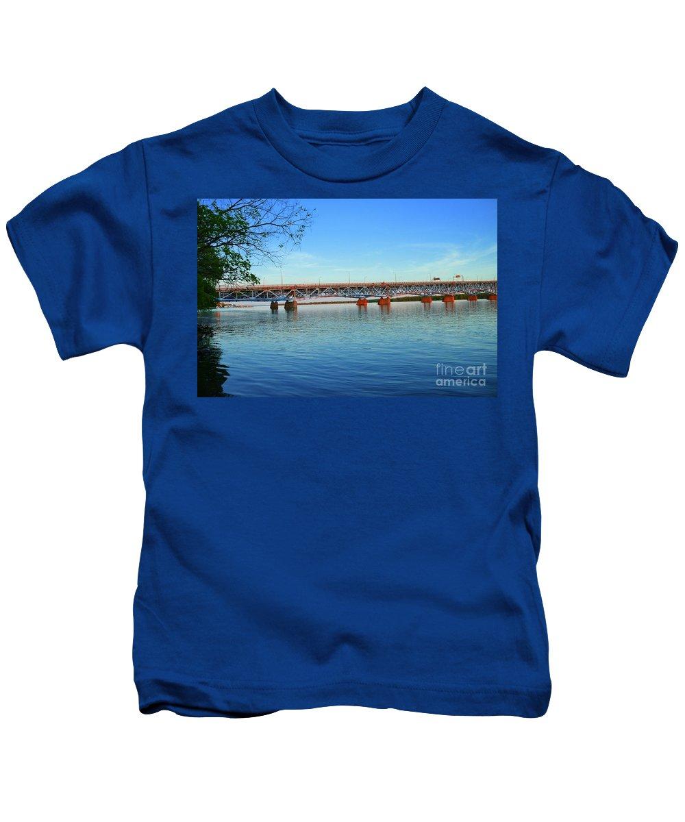 Bridge Kids T-Shirt featuring the photograph Grand Island Bridge 2 by Kathleen Struckle