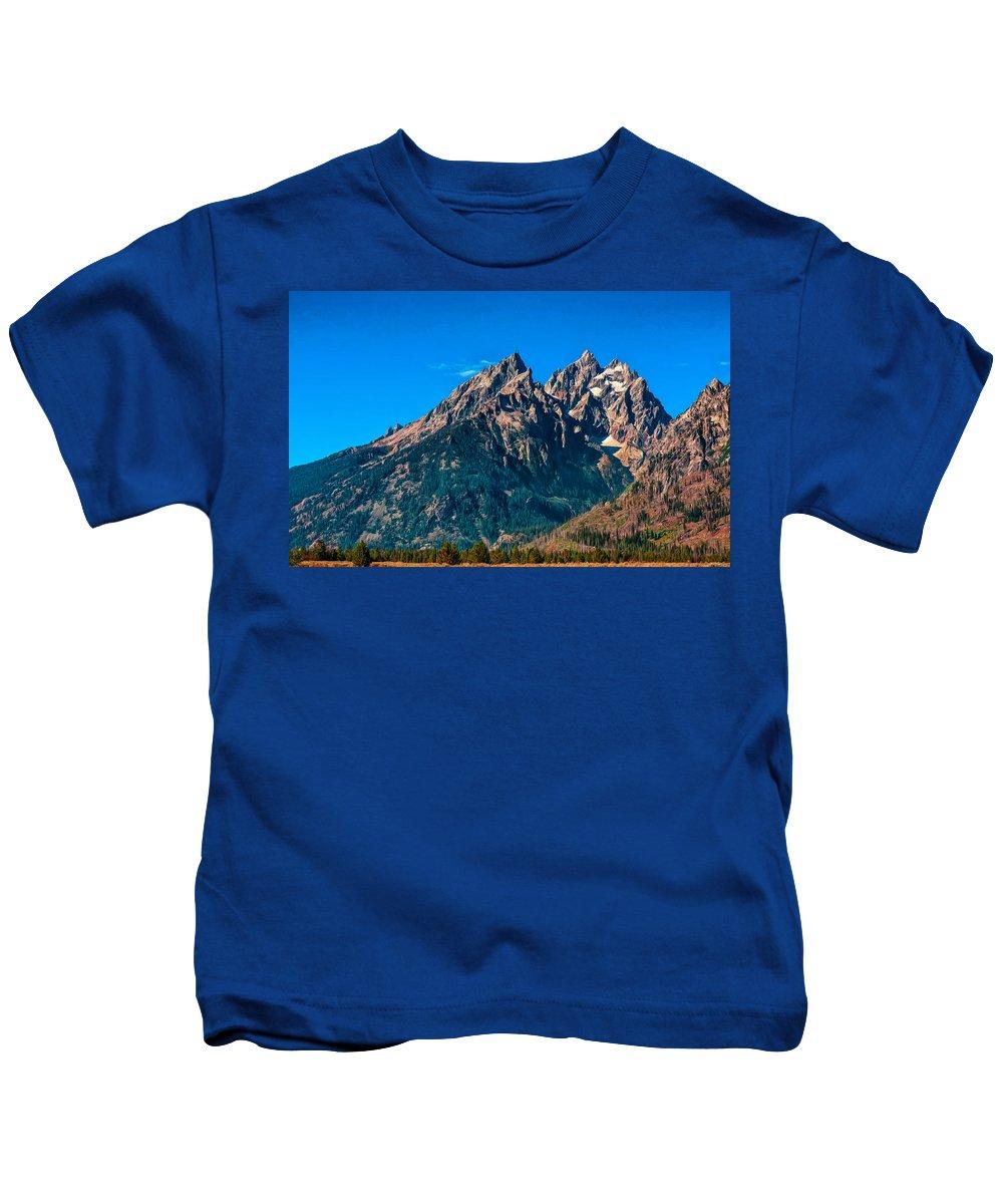 Jackson Kids T-Shirt featuring the photograph Grand Teton Mountain by John M Bailey