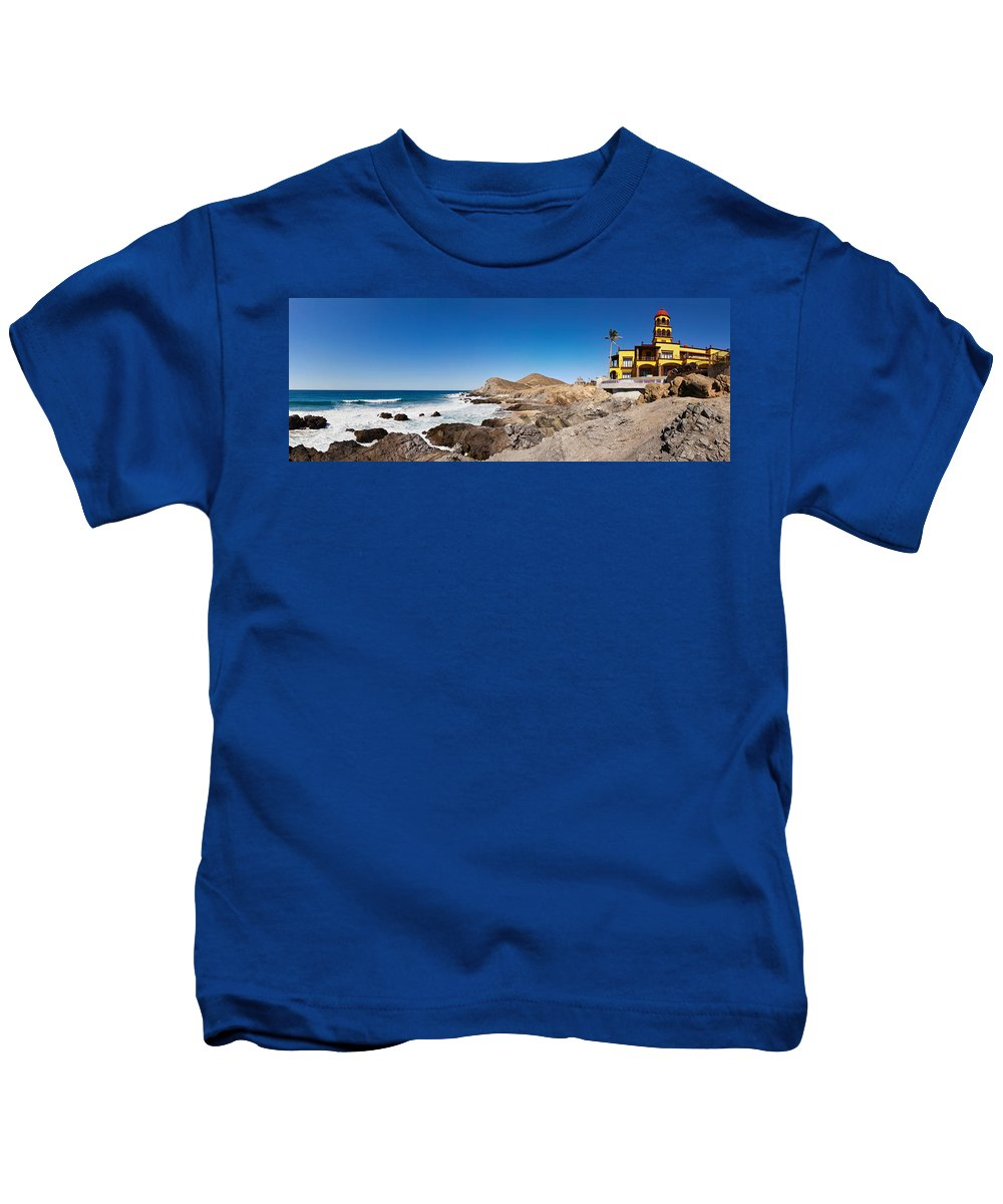Photography Kids T-Shirt featuring the photograph Hacienda Cerritos On The Pacific Ocean by Panoramic Images