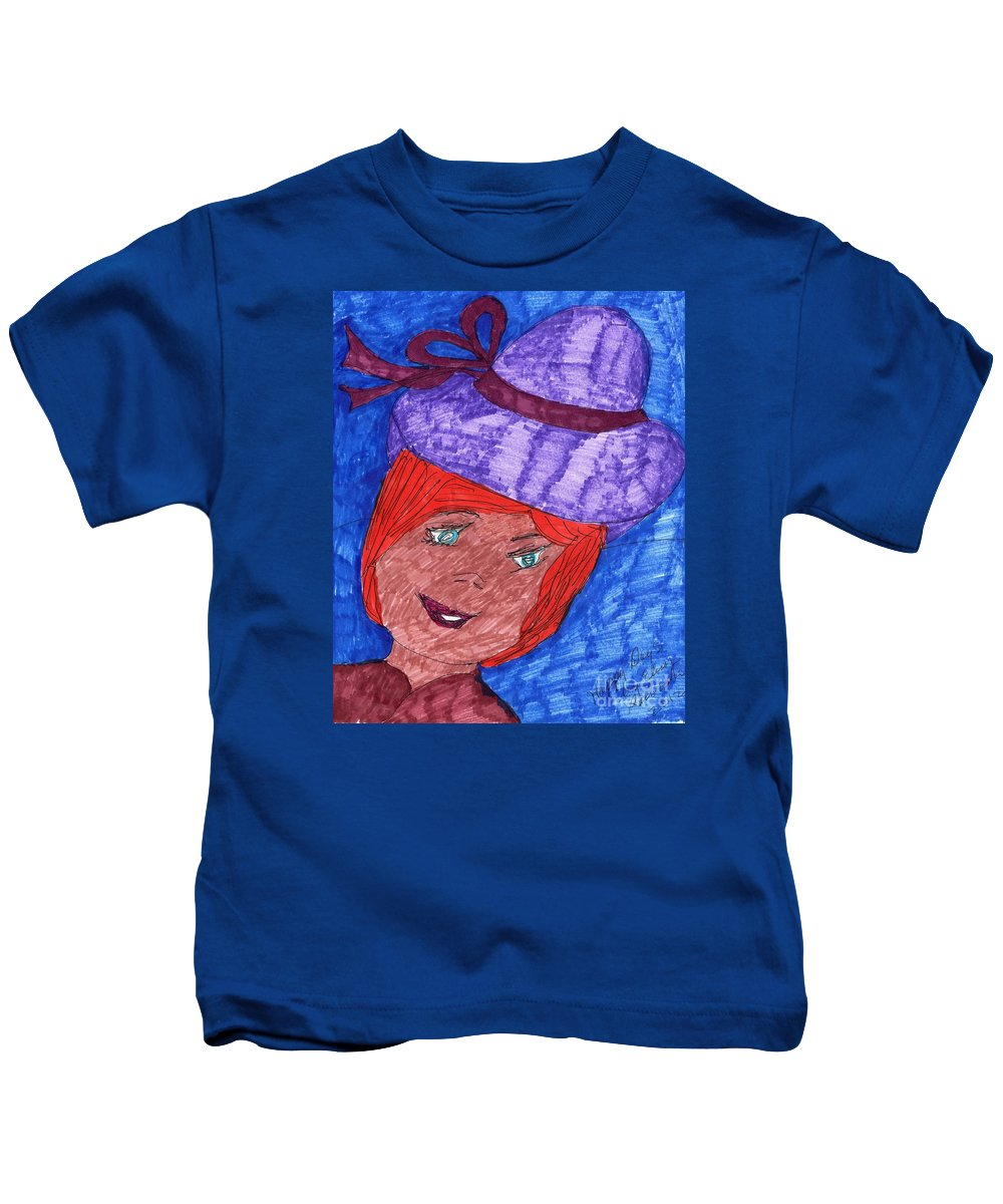 Blue Eyed Lady Red Hair Purple Hat Kids T-Shirt featuring the mixed media Happy Days by Elinor Helen Rakowski