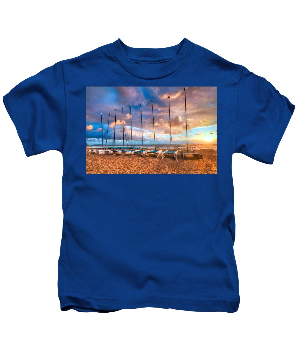 Boats Kids T-Shirt featuring the photograph Hobe-cats by Debra and Dave Vanderlaan