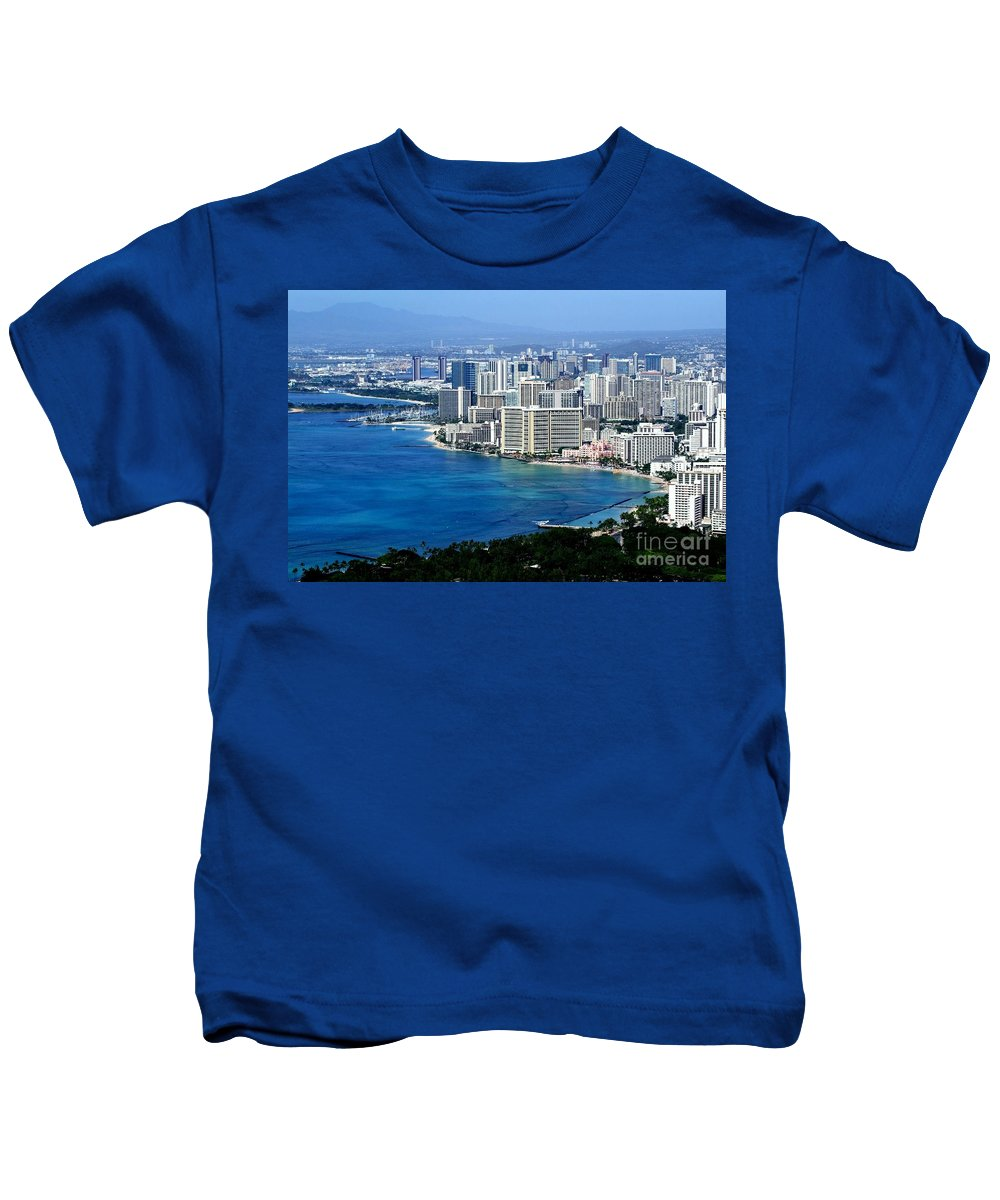 Honolulu Kids T-Shirt featuring the photograph Honolulu And Waikiki From Diamond Head by Mary Deal