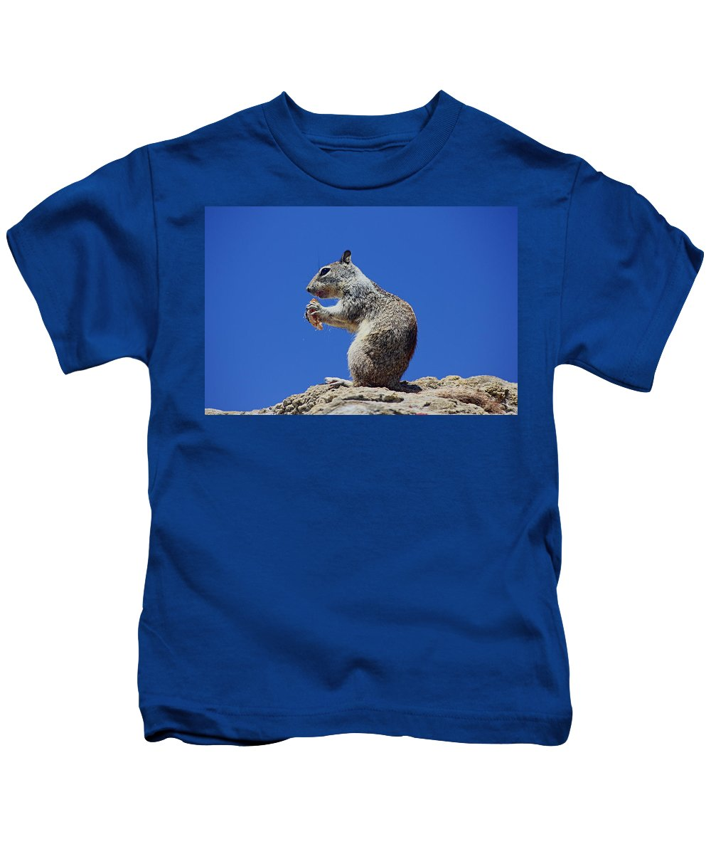 Hungry Ground Squirrel Kids T-Shirt featuring the photograph Hungry Ground Squirrel by Richard Cheski
