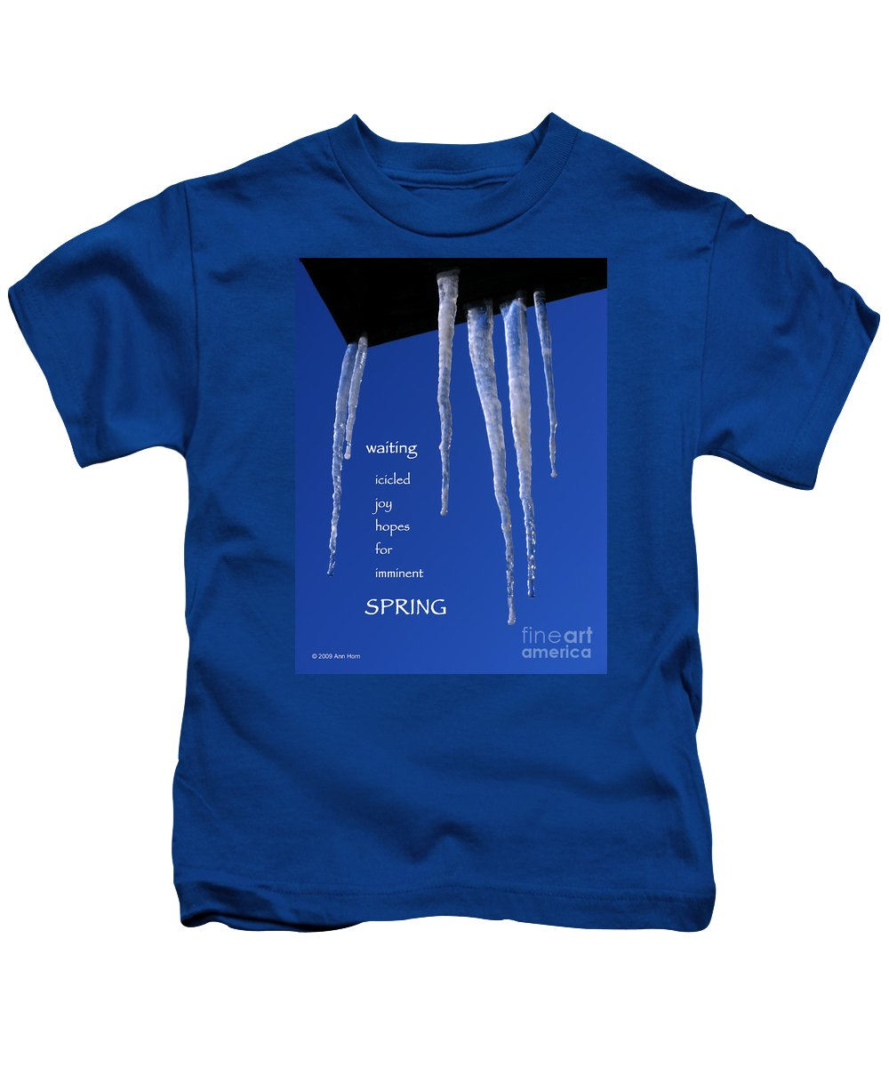 Icicle Kids T-Shirt featuring the photograph Icicled Joy by Ann Horn