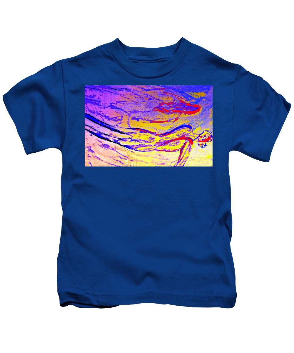Man Kids T-Shirt featuring the painting Seems Like We Are In A Flow Again by Hilde Widerberg