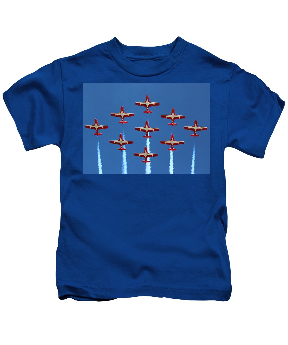 Snowbirds Kids T-Shirt featuring the photograph In Formation by Randy Hall