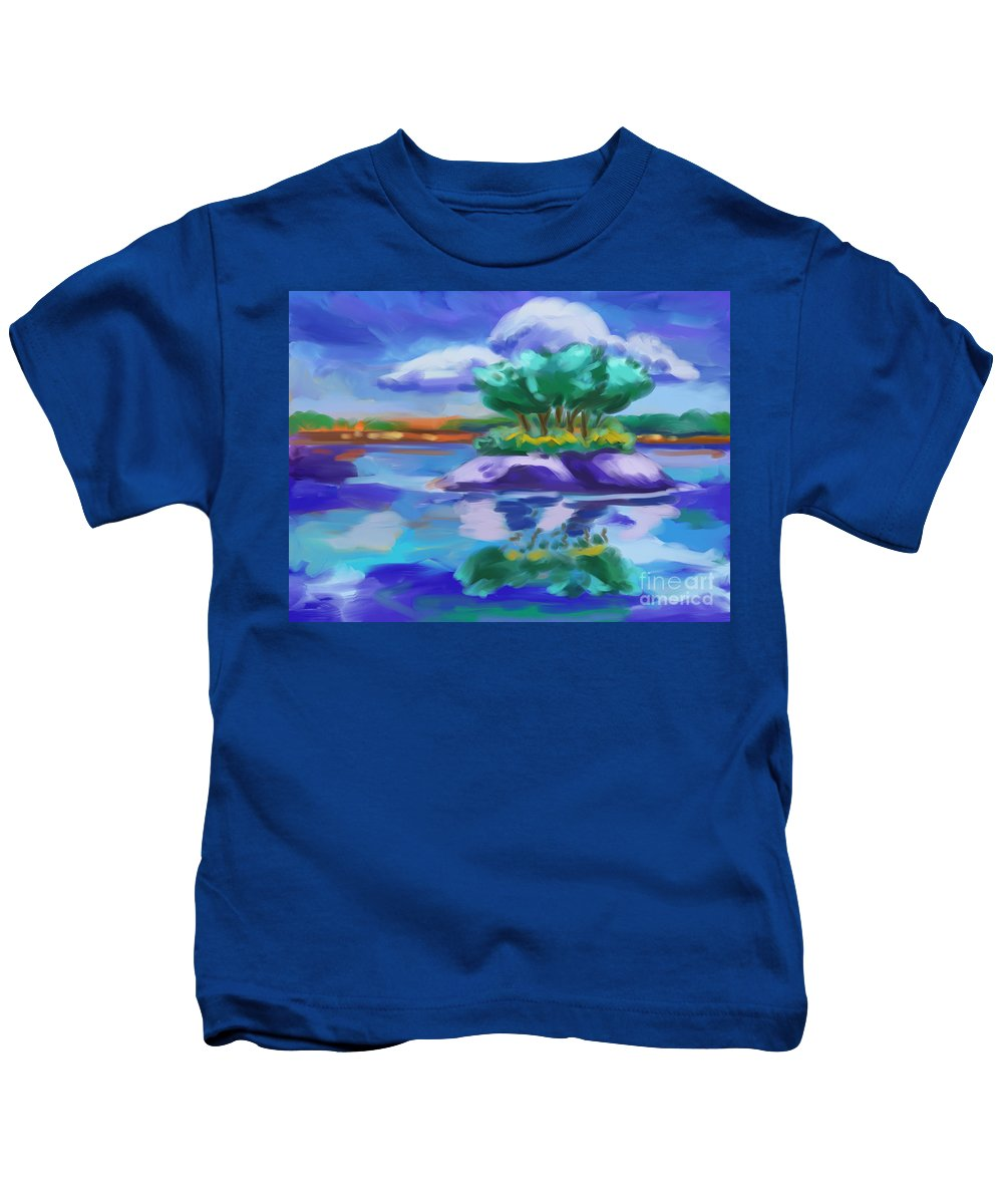 Island On The Lake Kids T-Shirt featuring the painting Island On The Lake by Tim Gilliland