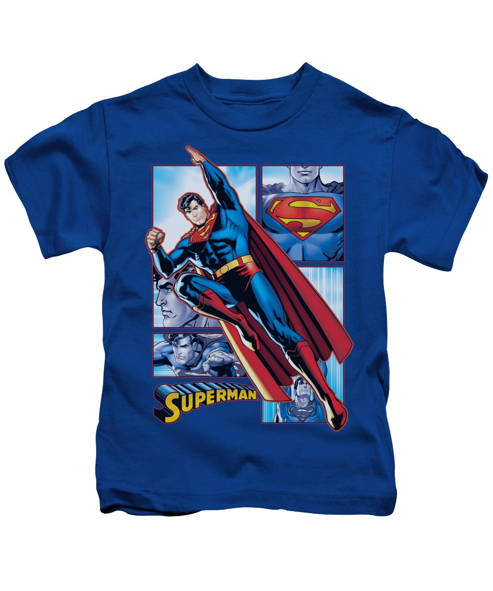 Justice League Of America Kids T-Shirt featuring the digital art Jla - Superman Panels by Brand A