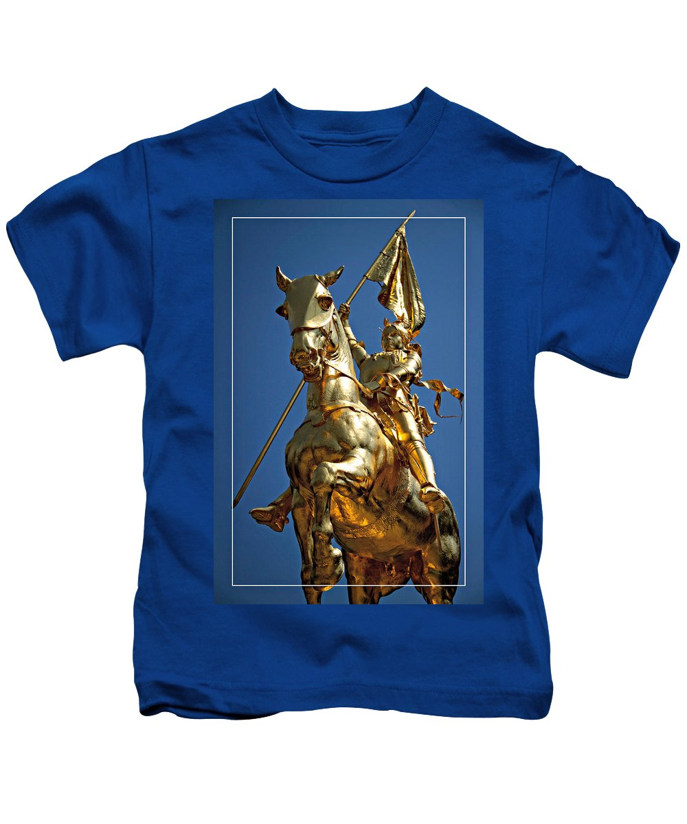 Joan Of Arc Statue Kids T-Shirt featuring the photograph Joan From Below by Alice Gipson
