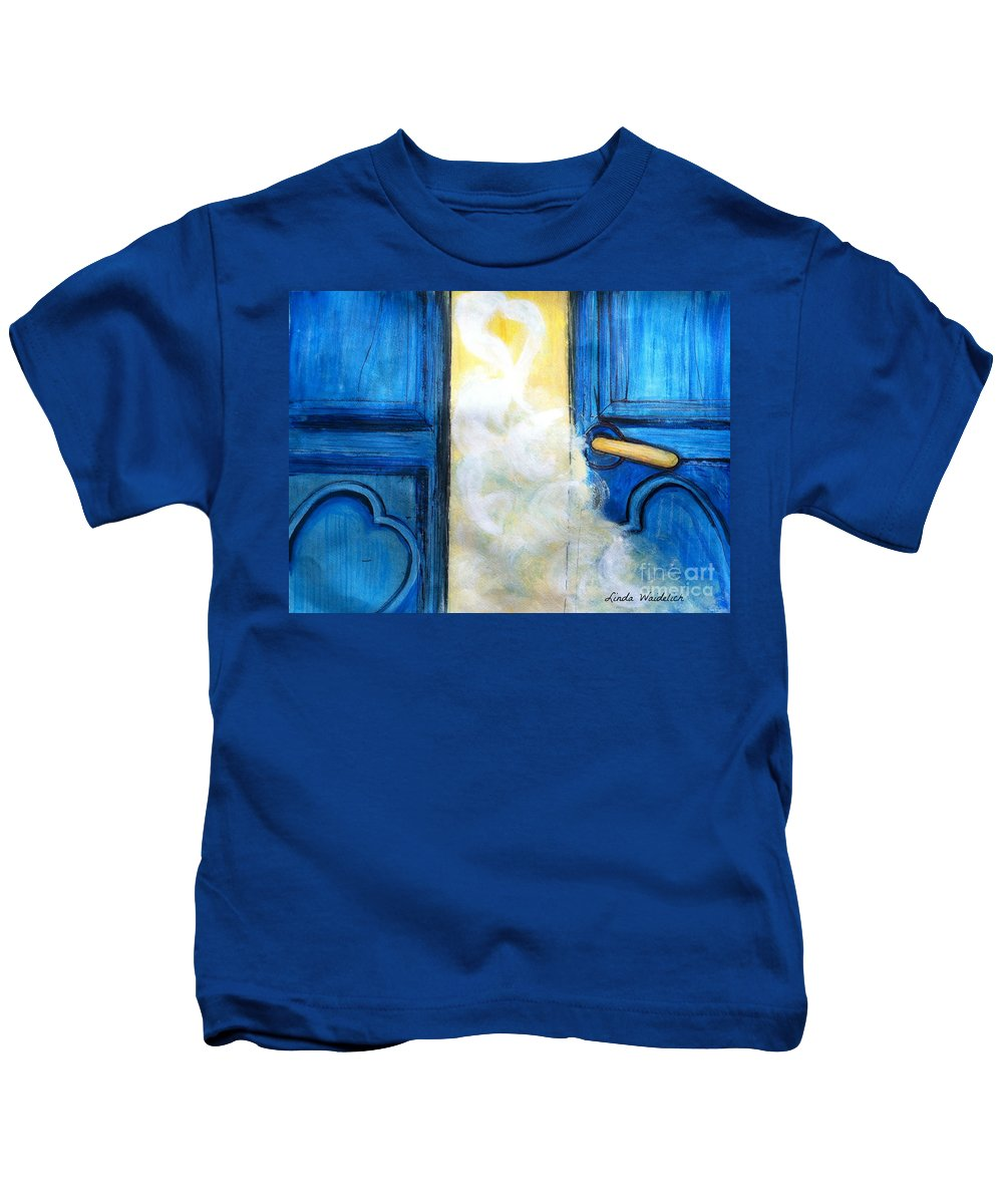 Door Kids T-Shirt featuring the painting Knocking On Heavens Door by Linda Waidelich