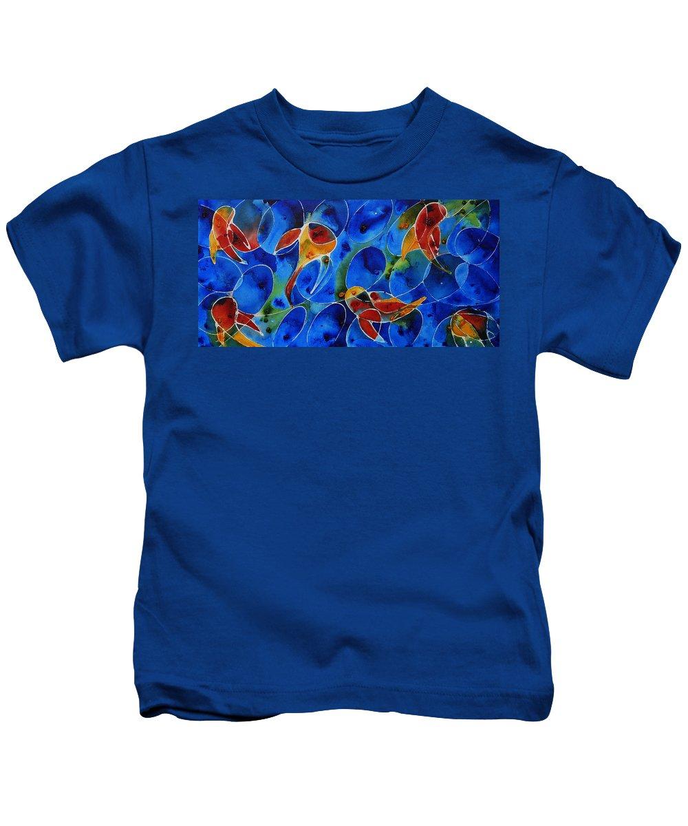 Koi Kids T-Shirt featuring the painting Koi Pond 2 - Liquid Fish Love Art by Sharon Cummings