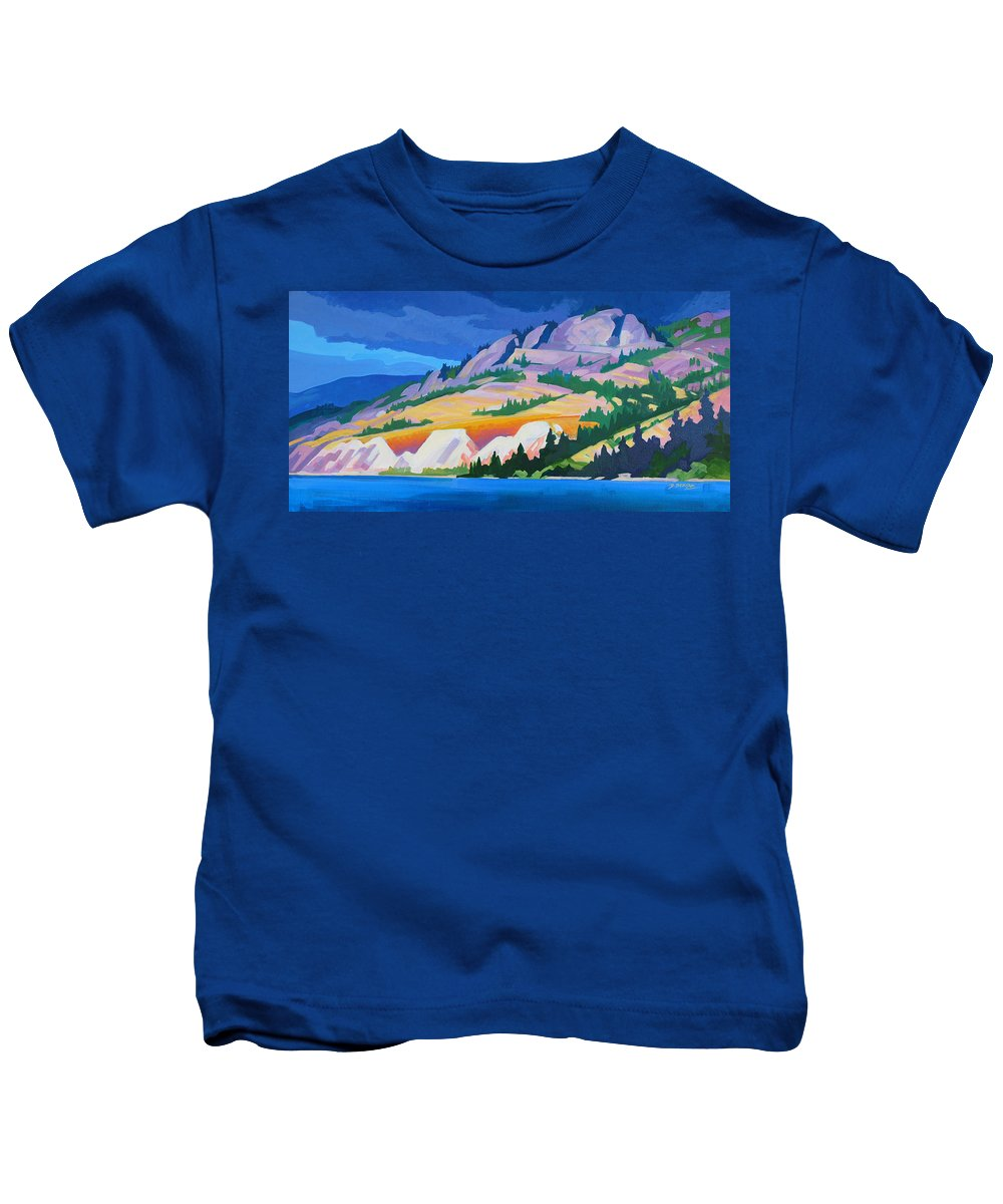 Kettle Valley Railroad Kids T-Shirt featuring the painting Kvr Railway Bluff Naramata by Dianne Bersea