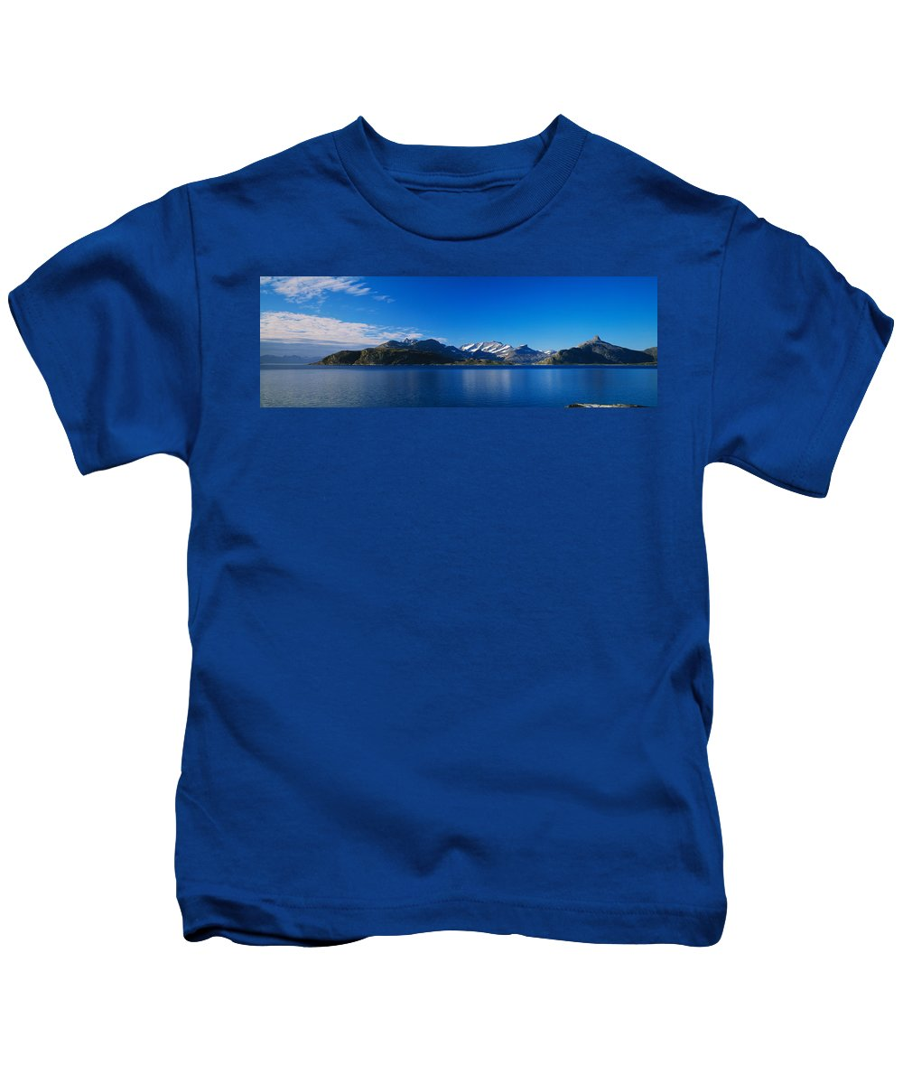 Photography Kids T-Shirt featuring the photograph Lake On Mountainside, Sorfolda, Bodo by Panoramic Images