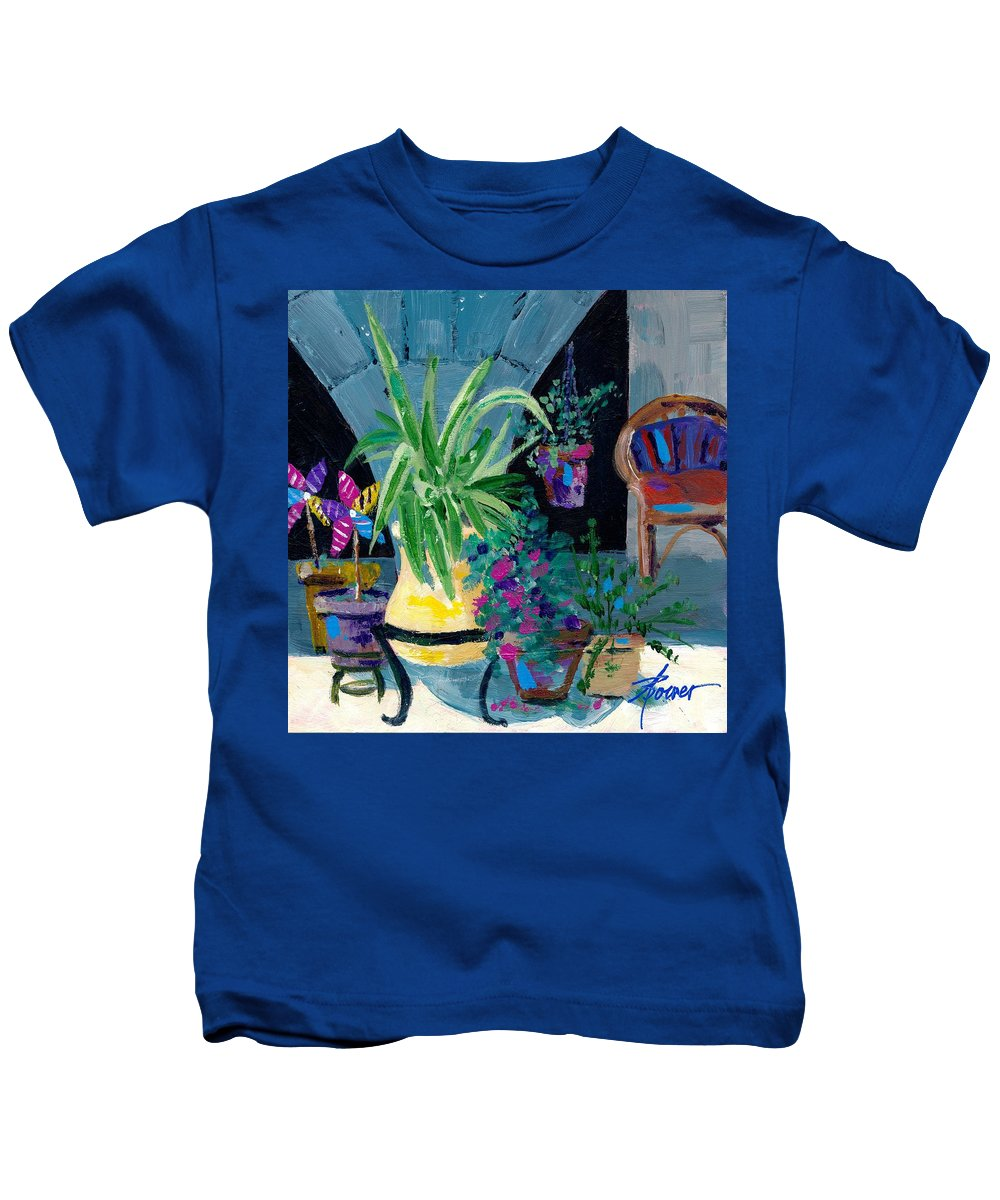 Pot Plants Kids T-Shirt featuring the painting Library Courtyard-rhodes Old Town by Adele Bower