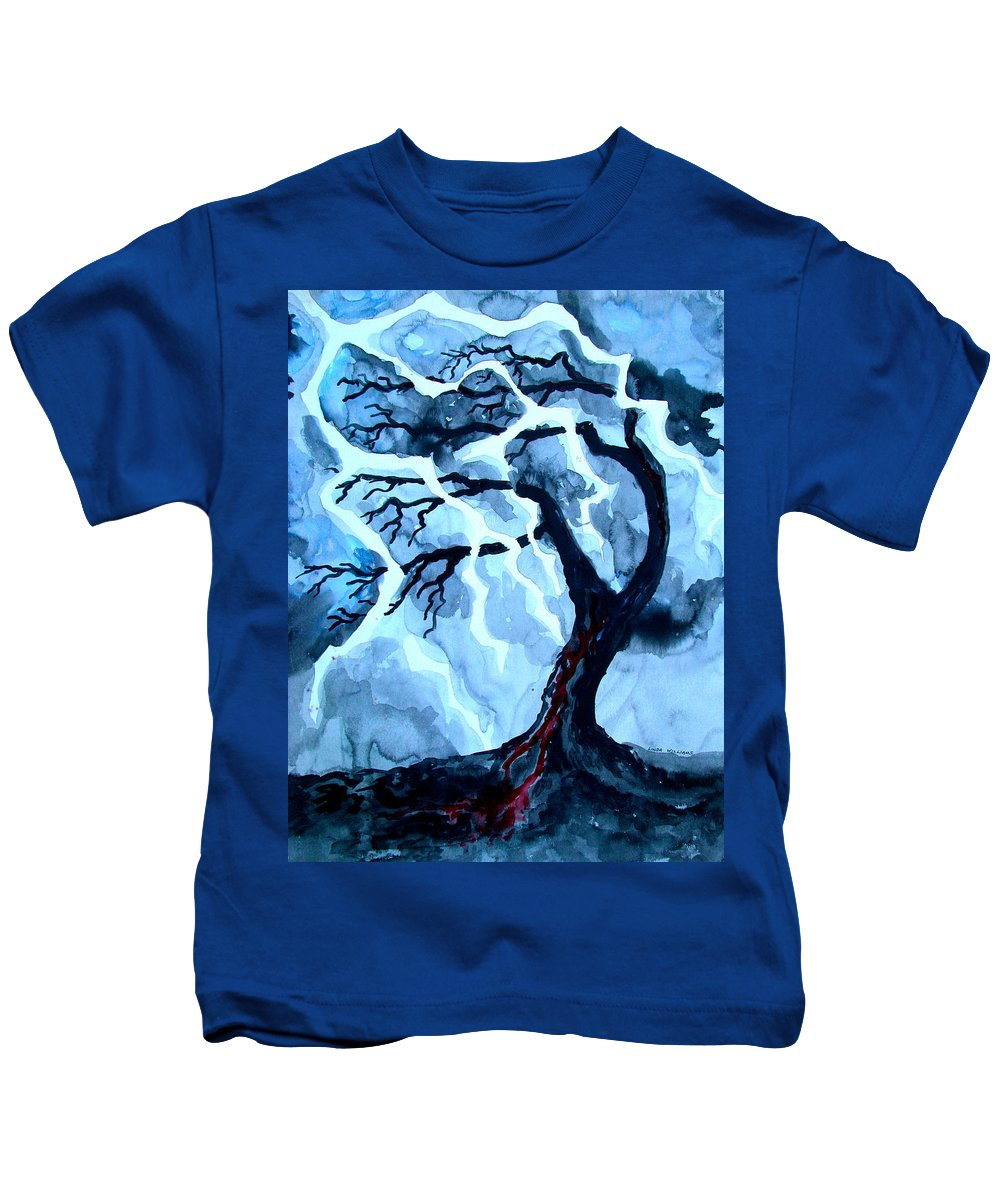 Tree Kids T-Shirt featuring the painting Lightning Tree by Linda Williams