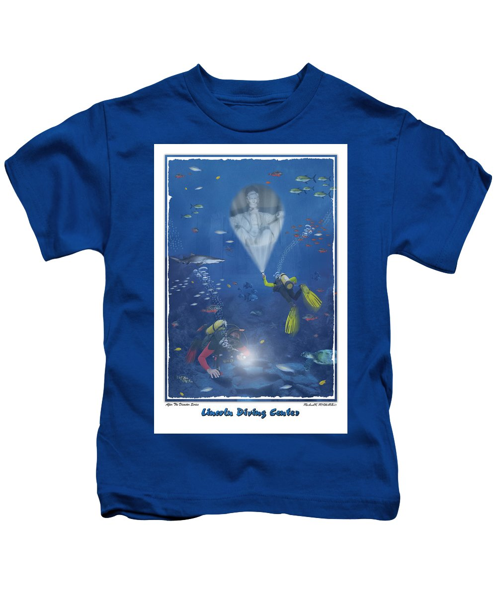 Pop Art Kids T-Shirt featuring the photograph Lincoln Diving Center by Mike McGlothlen