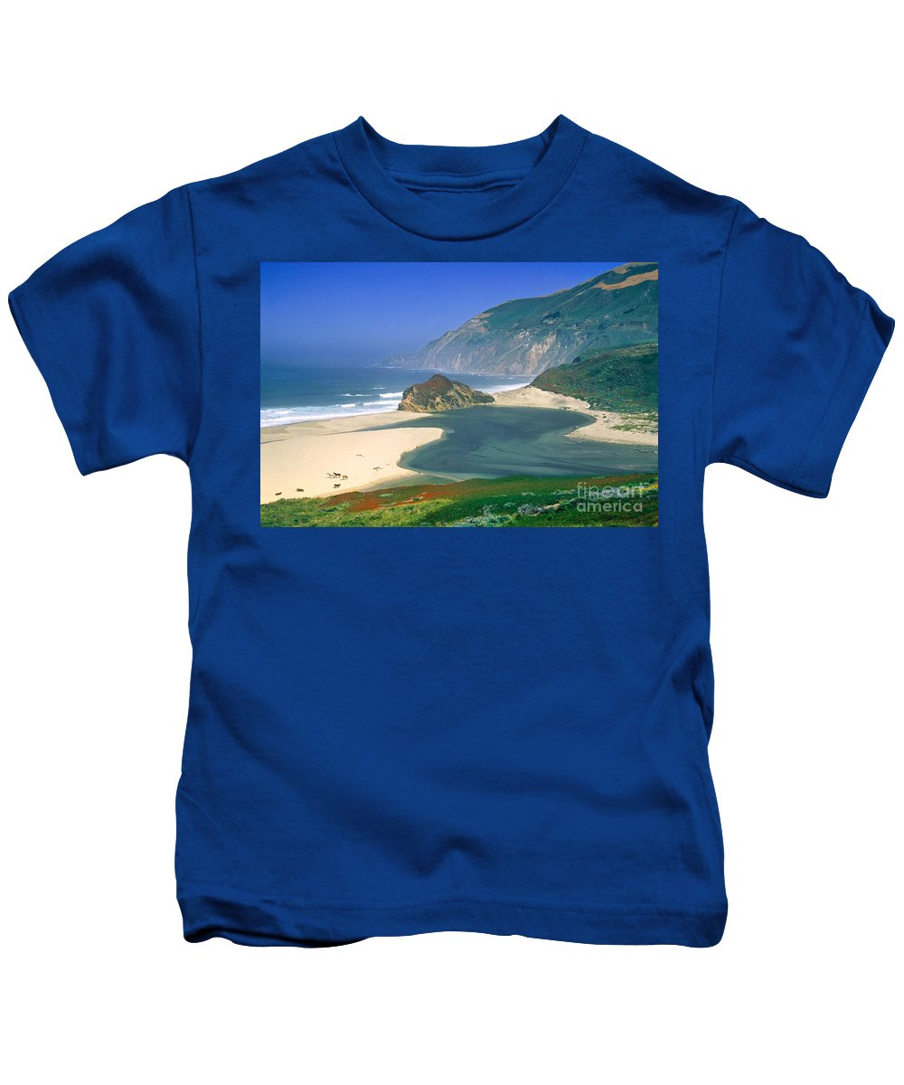 Little Sur River Kids T-Shirt featuring the photograph Little Sur River In Big Sur by Charlene Mitchell