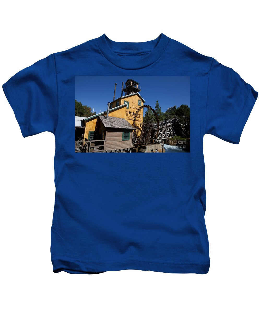 Disneyland Kids T-Shirt featuring the photograph Log Flume Ride Disneyland by Jason O Watson