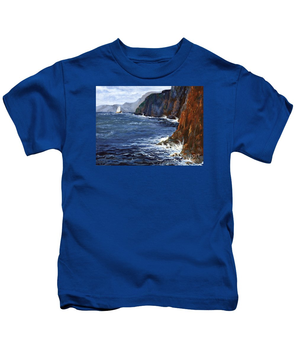 Landscape Kids T-Shirt featuring the painting Lonely Schooner by Mary Palmer