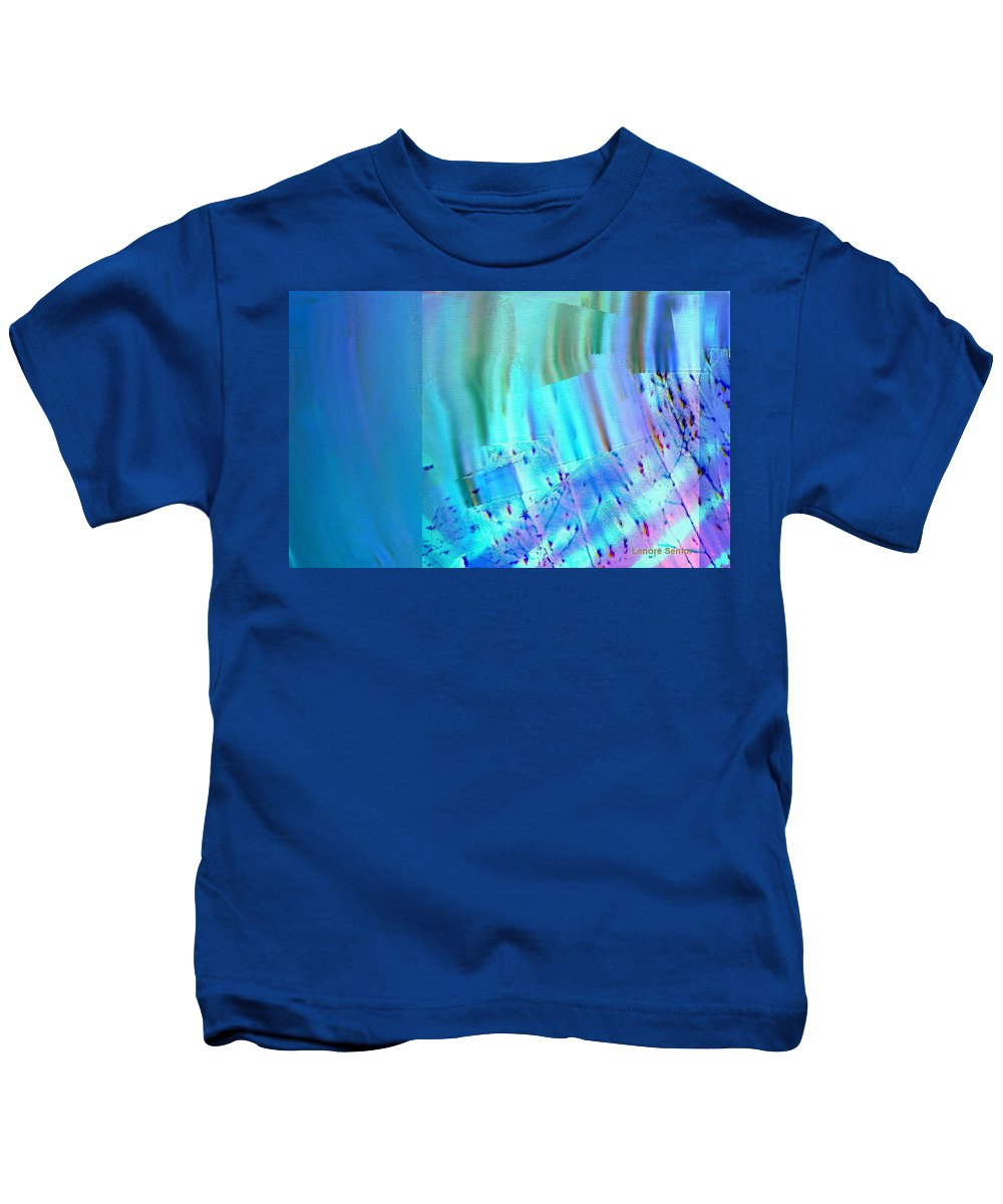 Abstract Kids T-Shirt featuring the mixed media Lullaby by Lenore Senior