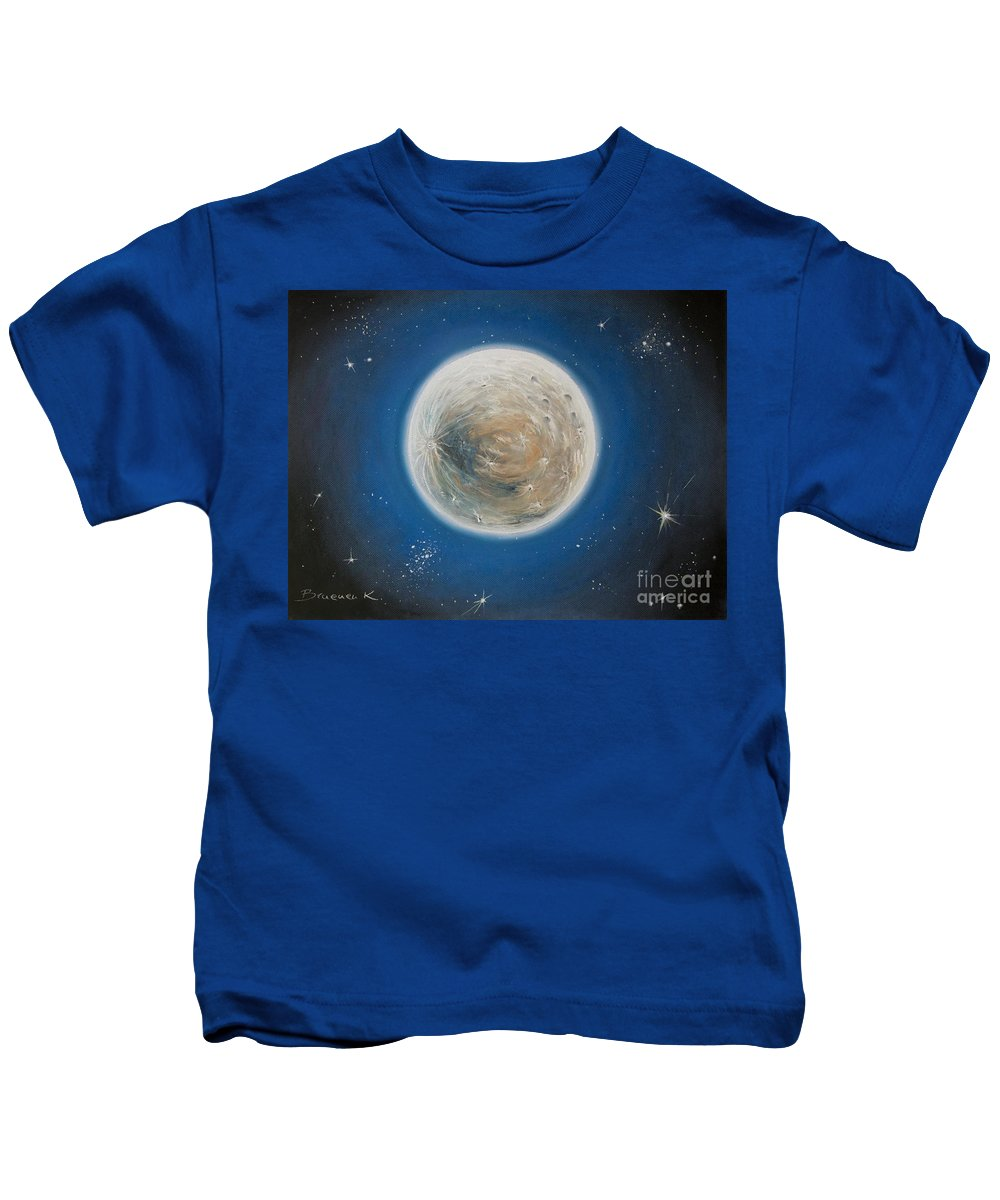 La Luna Kids T-Shirt featuring the pastel Luna by Katharina Filus