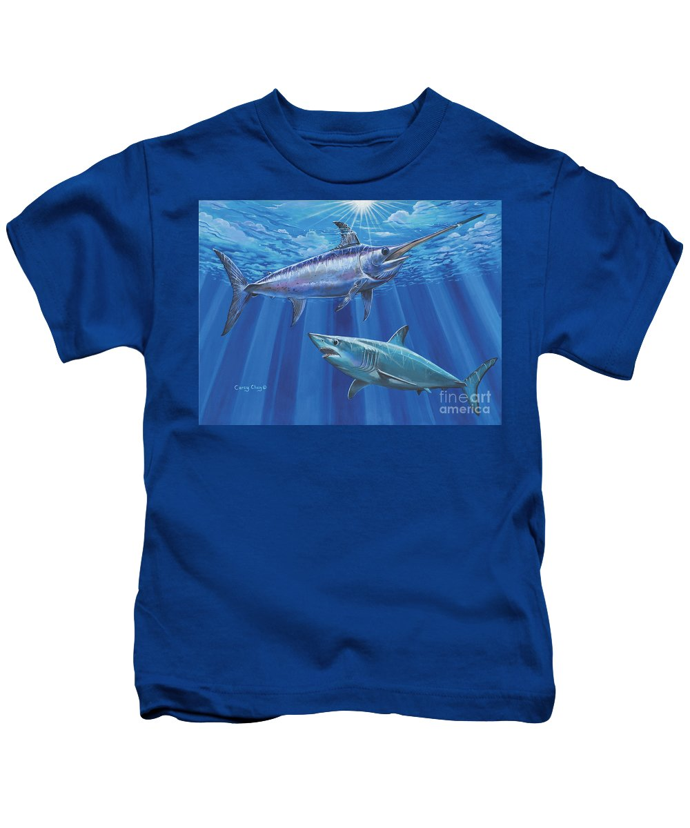 Swordfish Kids T-Shirt featuring the painting Mako Sword Off0024 by Carey Chen