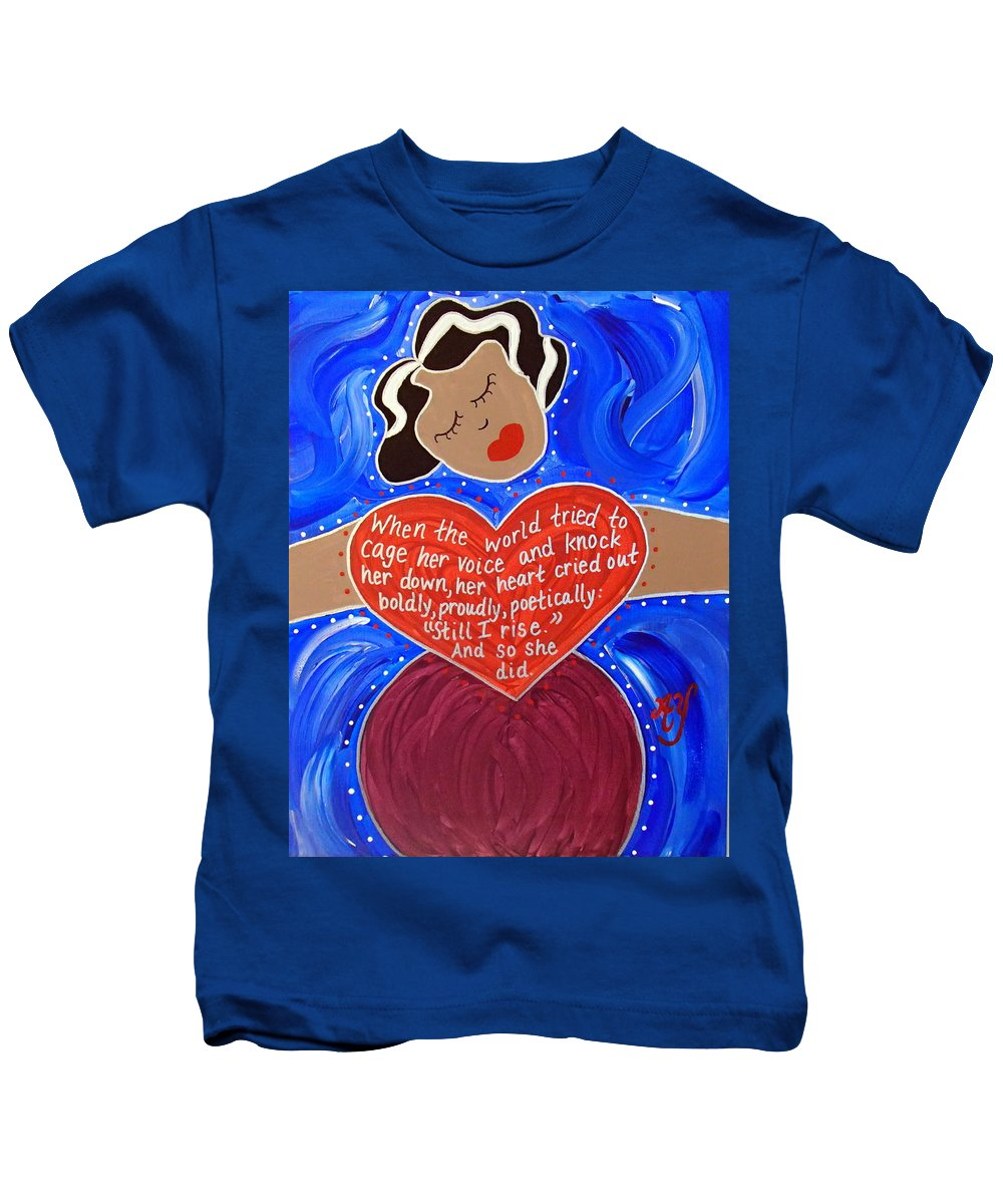 Icon Kids T-Shirt featuring the painting Maya Angelou by Angela Yarber