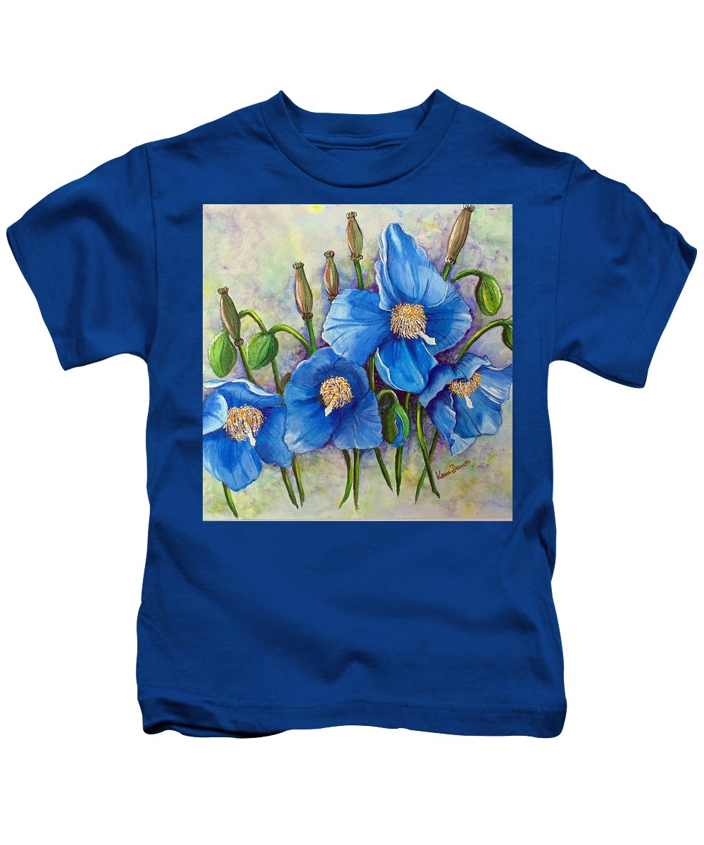 Blue Hymalayan Poppy Kids T-Shirt featuring the painting Meconopsis  Himalayan Blue Poppy by Karin Dawn Kelshall- Best