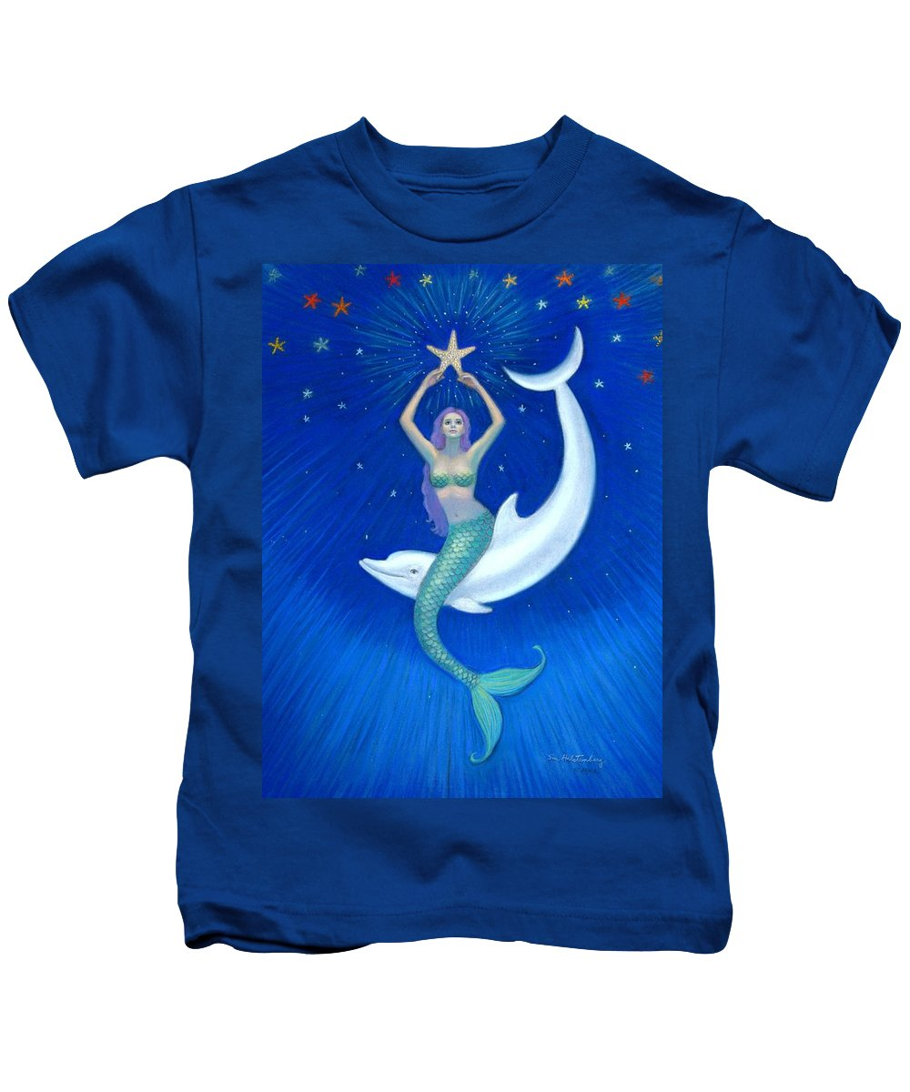 Mermaid Art Kids T-Shirt featuring the painting Mermaids- Dolphin Moon Mermaid by Sue Halstenberg