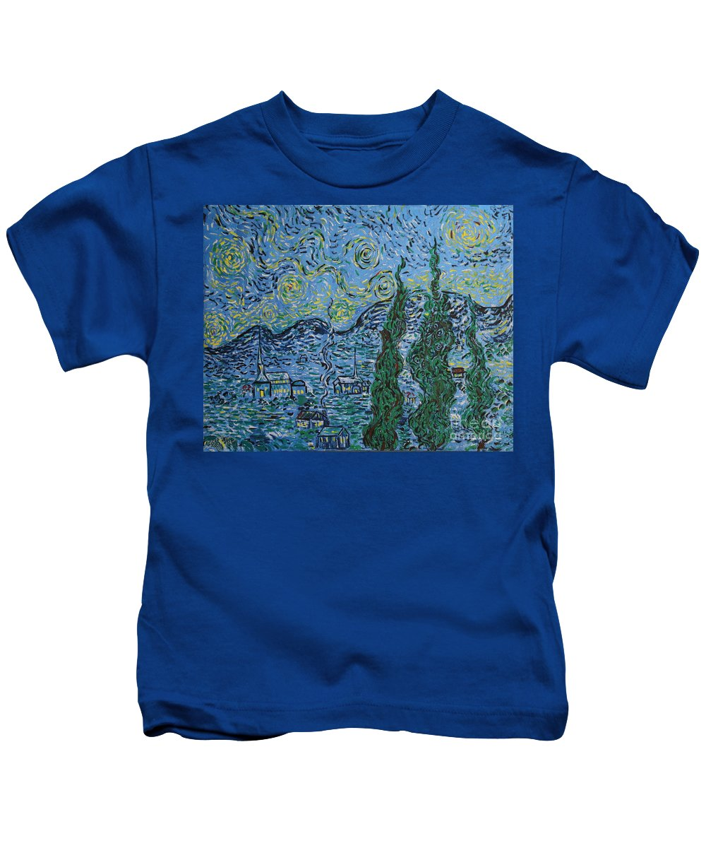 Landscape Kids T-Shirt featuring the painting Metallic Night by Stefan Duncan